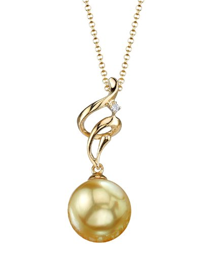 THE PEARL SOURCE 14K Gold 9-10mm Round Golden South Sea Cultured Pearl & Diamond Aria Pendant Necklace for Women
