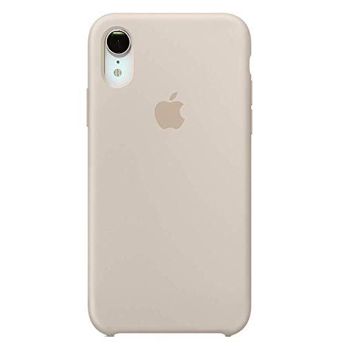 iPhone iPhone XR Liquid Silicone Case Fits iPhone XR (6.1 inch), Gel Rubber Protection Shockproof Cover Case with Soft Microfiber Cloth Lining Cushion (Stone)
