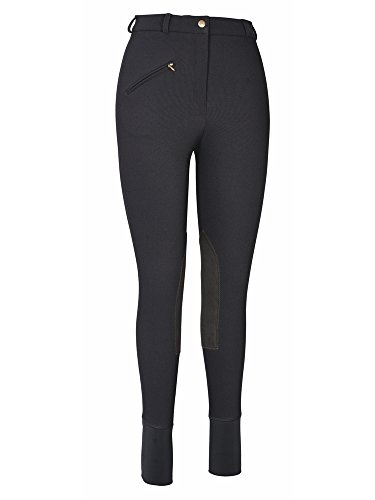 TuffRider Women's Ribb Knee Patch Breeches (Regular), Black, 28