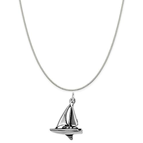 Raposa Elegance Sterling Silver 3D Sailboat Charm Pendant on a Sterling Silver Carded Box Chain Necklace, 18