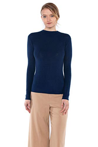 JENNIE LIU Tissue Weight 55% Silk 45% Cashmere Waffle-Knit Long Sleeve Mock Funnel Neck Sweater(S, ()