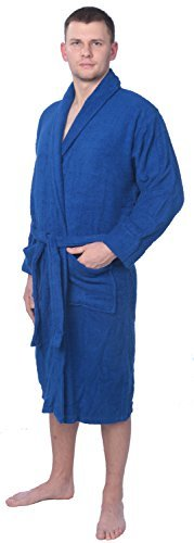 Men's 100% Cotton Shawl Collar Robe Terry Cloth Bathrobe Available in Plus Size MNBRT1_Y18 Royal Blue 3X ()