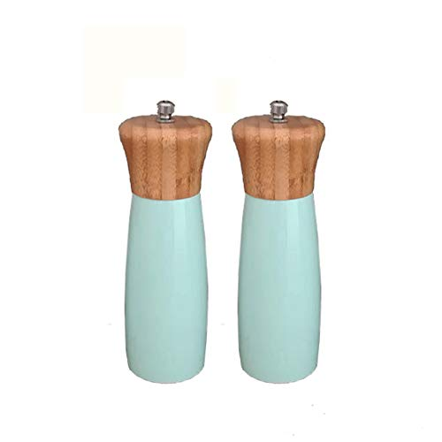 (Salt and Pepper Mill set, Pepper Grinder, Wooden Pepper Mill Manual Adjustable Coarseness Pepper Shakers Salt Grinder (Mint Green),Green,6''x2)