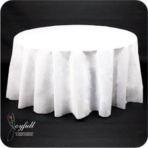 "Joyfull Linen-look Round Table Cover 108"" Disposable"