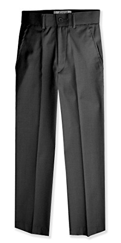 Boys Flat Front Slim Fit Dress Pants #JL36 (4T, Charcoal) - Slim Fit Charcoal Dress Pants