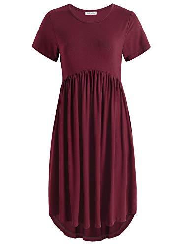 (Weintee Women's Flowy High-Low Dress with Pockets M Wine Red)
