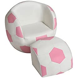 Giftmark Children's Pink and White Soccer Chair w Pull Out Ottoman Kids Furniture