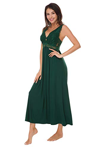 Womens Sleepwear Lace Lingerie Chemises V Neck Nightgown Long Sexy Sleep Dress Sleeveless Lace for Women Elegant (Blackish Green, Large)
