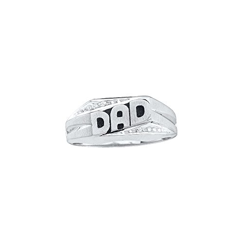 Roy Rose Jewelry 14K White Gold Mens Round Diamond Dad Father Ring .01 Carat tw ~ Size 10 (Diamond Mens Round Dad Ring)
