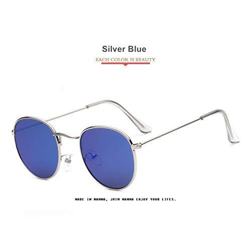 À Lunettes Ackj Soleil De La Hommes Rondes Pour Silver Blue Femmes Mode Vintage xYRqCwRT