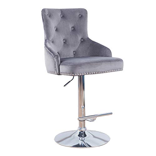 DMF Velvet Bar Stools Chairs with High Back Arms, Height Adjustable in Kitchen Dining Counter Room Fabric Barstools,Grey