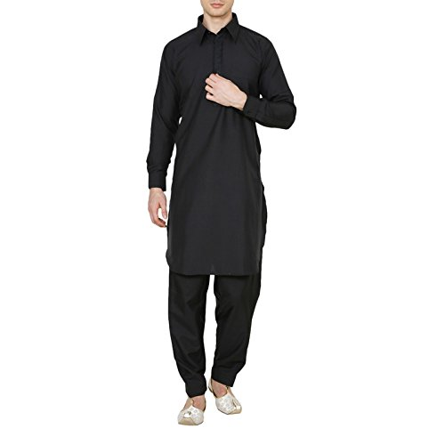 Royal Indian Pathani Suit Traditional Mens Diwali Wear Cultural Kurta Pajama Black (Best Pathani Suit For Mens)