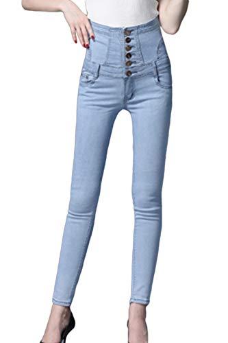 Haute Pantalon La Botton Extensible Bleu Taille Femmes Maigre Sopliagon Plus Jeans Fermeture w8ONmnv0