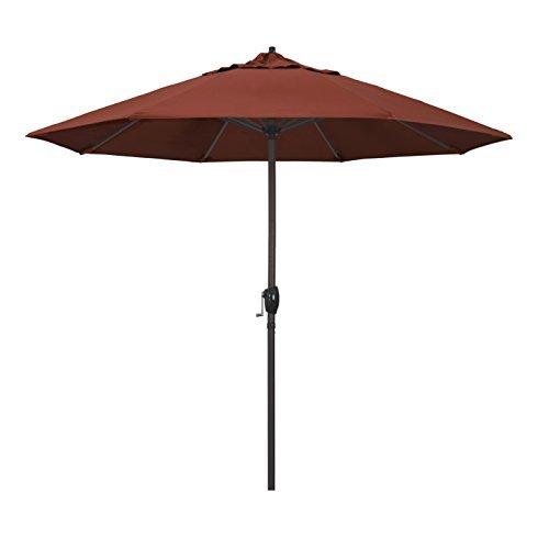9' Round Aluminum Market Umbrella, Crank Lift, Auto Tilt, Bronze Pole, Sunbrella Terracotta Fabric ()