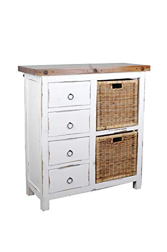 (Sunset Trading CC-CAB2228TLD-WWSV-B Shabby Chic Cottage White Cabinet, Two Basket, Whitewash/Salvage)