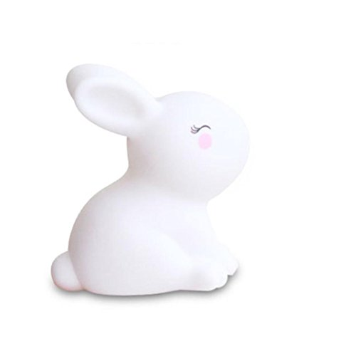 (Pausseo Kids Cute Rabbit Plug-in Night Light, Warm White LED Nightlight, Dusk-to-Dawn Sensor, Bedroom, Bathroom, Kitchen, Hallway, Stairs, Energy Efficient Small Light with Face Shape Lamp (B-5PCS))