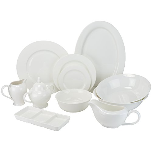 - 10 Strawberry Street BONE-3200RD Bone China 32 Piece Dinnerware Set, Service for 6, White