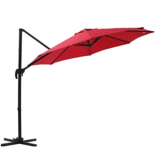 SUPERJARE 10 Ft Offset Hanging Umbrella, Crank Lift & 5 Lock Positions, 360° Rotation, Outdoor Patio Cantilever with Tilt Canopy - Red