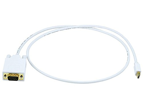 Monoprice 106002 3-Feet 32AWG Mini Display Port to VGA Cable - White by Monoprice