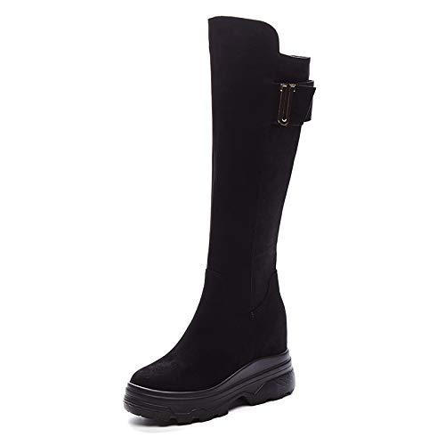Shukun Stiefeletten Hohe Stiefel Damenstiefel Damenschuhe Herbst und Winter Aber die Knie sind dick und elastisch dünn und schlank.