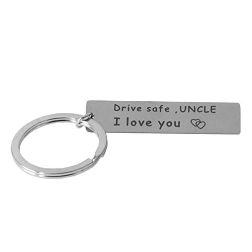LKXHarleya Drive Safe Keychain for Uncle, I Love You Key Chains, Personalized Engraved Car Key Chain, Novelty Car Key Ring for Bus Driver Trucker Gifts