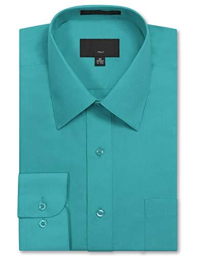 Blue Dress Turquoise - JD Apparel Mens Long Sleeve Regular Fit Solid Dress Shirt 15-15.5 N 30-31 S Turquoise,Medium