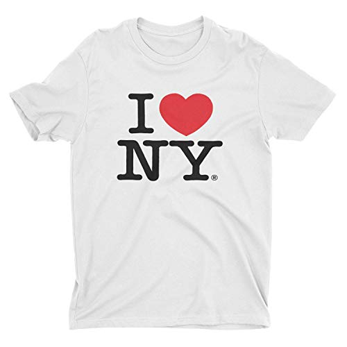 Love Screen - I Love NY New York Short Sleeve Screen Print Heart T-Shirt White Large