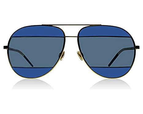 Dior 000KU Rose Gold / Blue DiorSplit2 Aviator Sunglasses