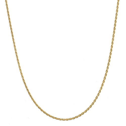 18K Gold Flashed Sterling Silver 1.6mm Italian Rope Chain Necklace - 14