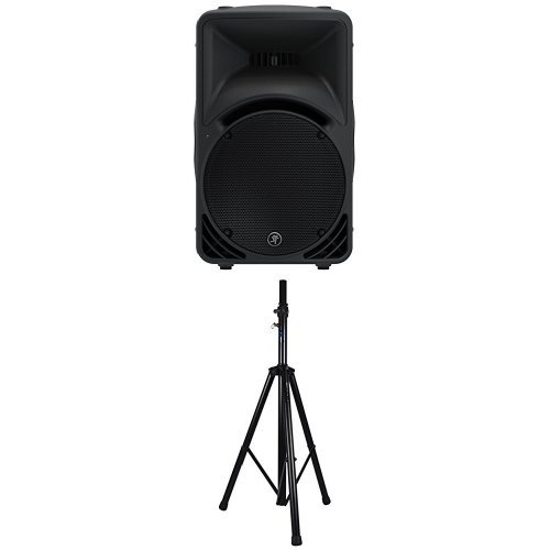 Two Mackie SRM450v3 1000 Watts High-Definition Portable Powered Loudspeakers with Two Stands and Two Bags