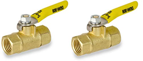 Smith-Cooper International 8140 Series Brass Mini Ball Valve, Inline, Lever Handle, 1/4 NPT Female, Non-Potable Water Use Only (2-(Pack))