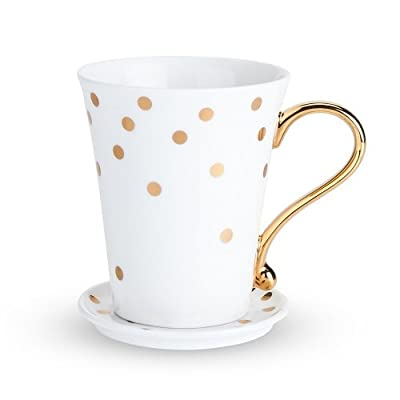 Country Cottage Polka Dot Ceramic Mug and Saucer by Twine
