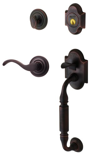 - Baldwin 85305.412.RENT Canterbury Sectional Trim Right Hand Handleset with Wave Lever, Distressed Venetian Bronze