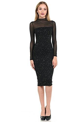Line 6ix Women's Spread Gold Dot Foil Mesh Panel Bodycon Mini Dress (Large) Foil Mesh Dress