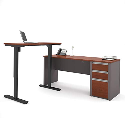 Bestar Connexion L-Desk Including Electric Height Adjustable Table, Bordeaux/Slate