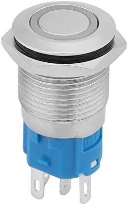 KIMISS 16mm 12V メタルボタンスイッチ 車のオフボタン LEDライト付き((绿色))
