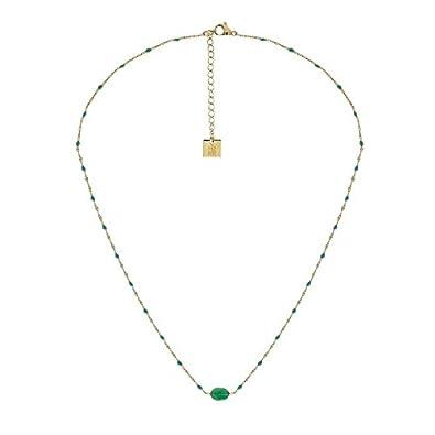 Zag Bijoux Collier Fin Perles Vertes (doré)  Amazon.fr  Bijoux d68594489aea