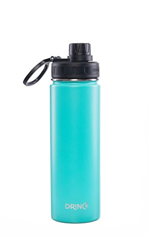 Drinco - Stainless Steel Water Bottle | Double Wall Vacuum Insulated Water Bottle | Perfect for Traveling Camping with Spout Lid | Aqua | BPA Free | 20 oz