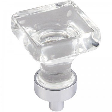 Jeffrey Alexander Harlow 1'' OL Glass Square Cabinet Knob - G140PC - Polished Chrome by Hardware Resources