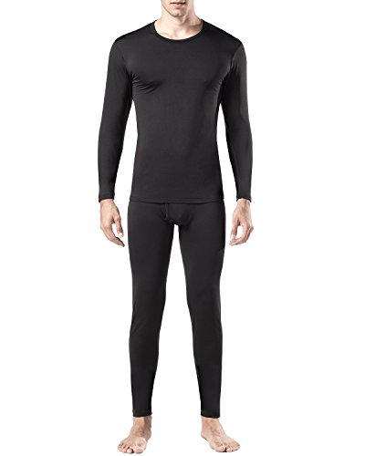 New Mens Thermal Underwear Set (Lapasa Men's Thermal Underwear Set Fleece Lined Long Sleeve Top & Bottom Wicking Long Johns (Large, Black))