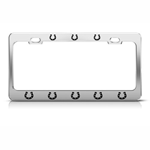 Speedy Pros Horseshoes Horse Horses License Plate Frame Stainless Metal Tag Holder
