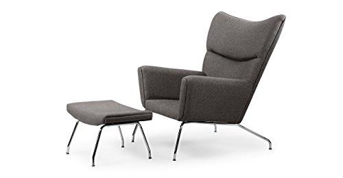 Kardiel Hans J Wegner Style Wing Chair & Ottoman, Cadet Grey Tweed Danish Wool (Wing Style Wegner Chair)