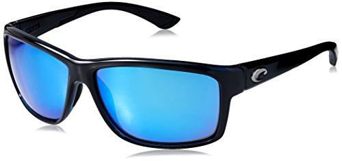 Costa del Mar Unisex-Adult Mag Bay AA 11 OBMGLP Polarized Iridium Wrap Sunglasses, Shiny Black, 63.2 - Sunglasses Del Costa Mar