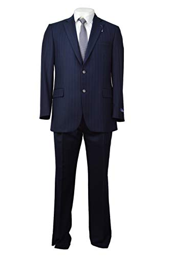 Brooks Brothers Madison Fit Men's 100% Wool Two Piece Suit Navy Blue Striped 41R Regular - Brothers Brooks Wool Suit