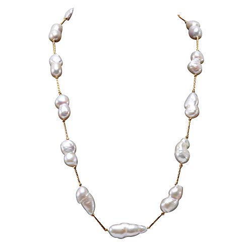 JYX Pearl Tin Cup Station Baroque Pearl Necklace White Freshwater Cultured Pearl Necklace for Women