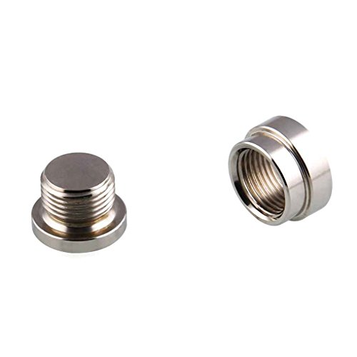 Bobury 2 Set M18x1.5 O2 Oxygen Sensor Stainless Steel Stepped Mounting Bung Plugs Oxygen Sensor Fittings Weld Bung ()