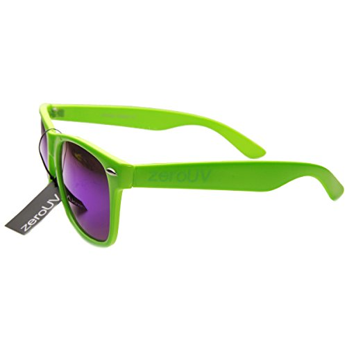 zeroUV - Retro Bright Horn Rimmed Sunglasses with Colorful Mirrored Lenses - UV400 (Green)
