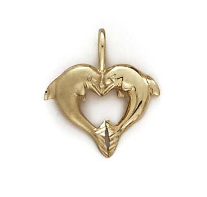 Doublee 14 Carats Dauphins-JewelryWeb pendentif en forme de cœur