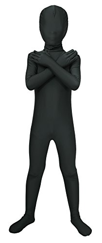 Sheface Kids Spandex Full Bodysuit Fancy Dress Costume (Medium, Black)