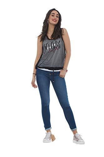 Para Negro Camiseta Mangas Liu Y Blanco Mujer Jeans Jo Sin wqOxnUza7X